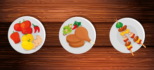 Set van heerlijk eten op houten achtergrond Gratis Vector