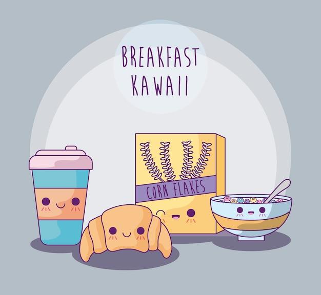 Set van heerlijk eten voor ontbijt kawaii stijl Premium Vector