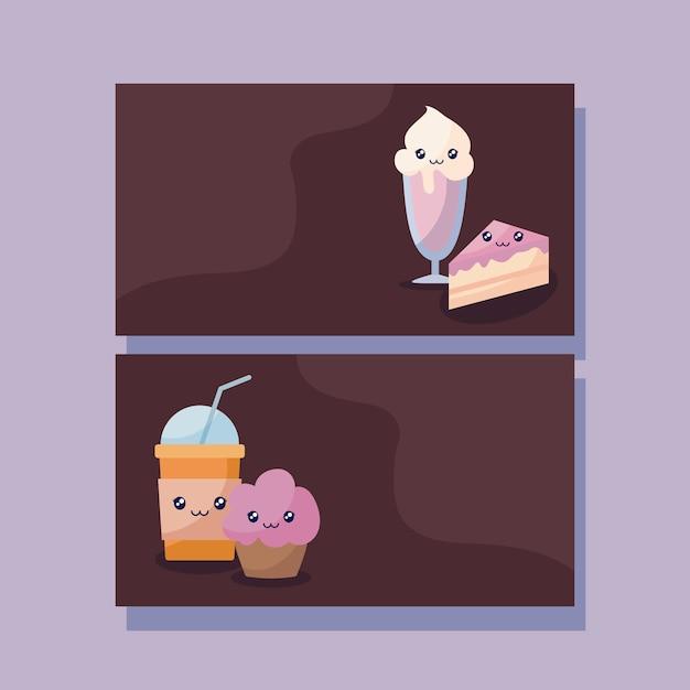 Set van heerlijke ijs en voedsel kawaii karakter Premium Vector