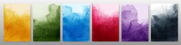 Set van heldere kleurrijke aquarel achtergrond Premium Vector