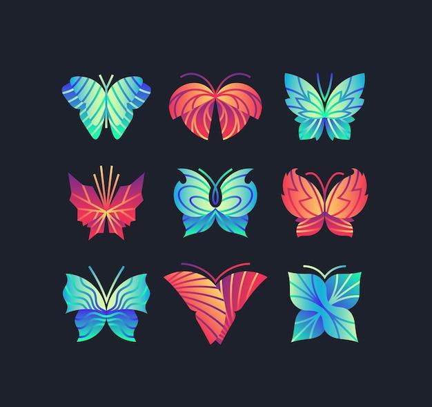 Set van heldere levendige kleurovergang vlinders. grafische pictogrammen, logo's, merken. Premium Vector