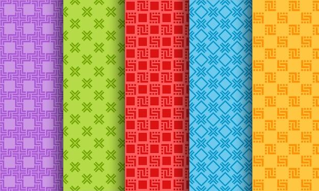 Set van heldere verschillende naadloze patronen Premium Vector