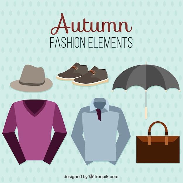 Set van herfst herenkleding en accessoires Gratis Vector