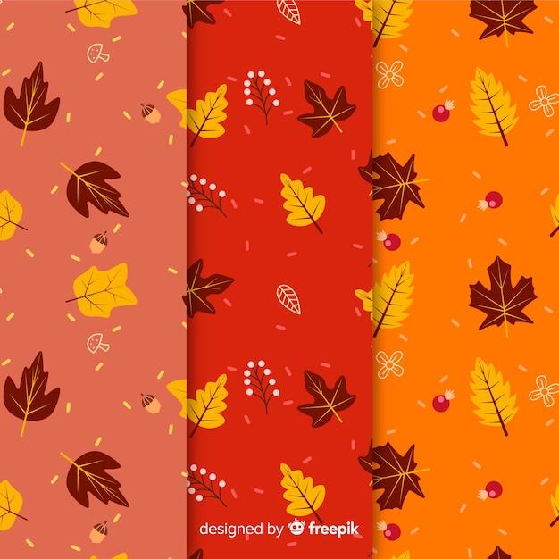 Set van herfst patronen plat ontwerp Gratis Vector