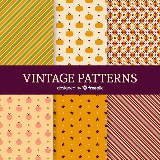 Set van herfst patronen vintage stijl Gratis Vector