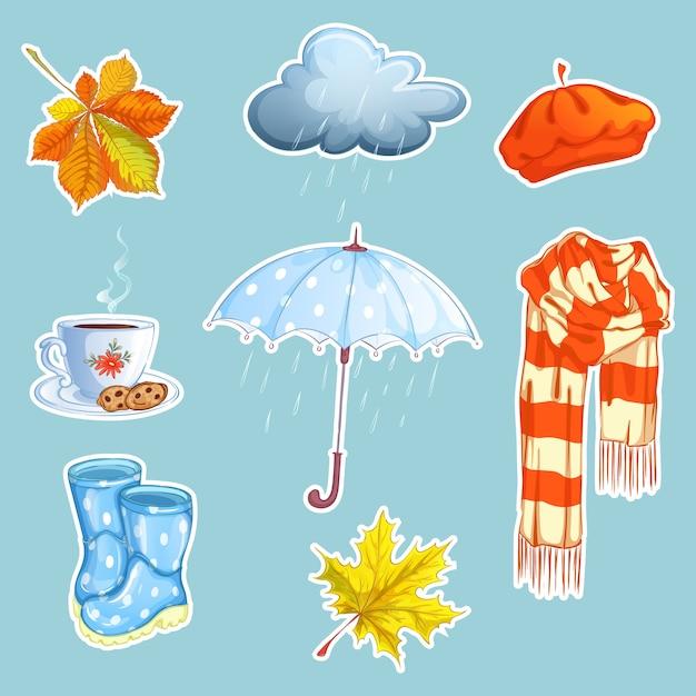 Set van herfst stickers. Premium Vector