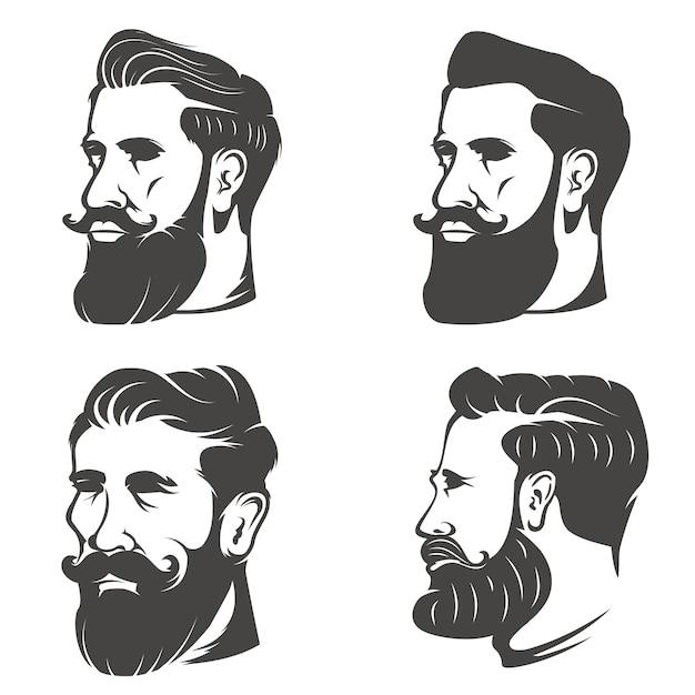 Set van het hoofd van de bebaarde man op witte achtergrond. elementen voor kapper winkel embleem, badge, teken, merk. Premium Vector