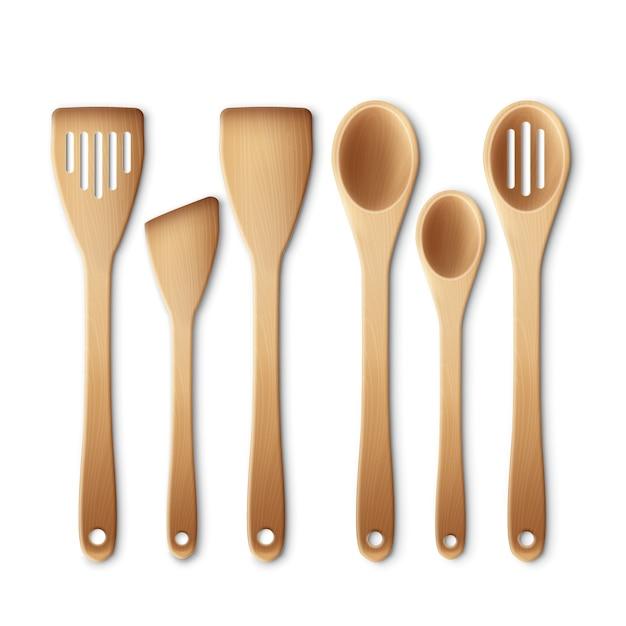 Set van het houten keukengerei Gratis Vector