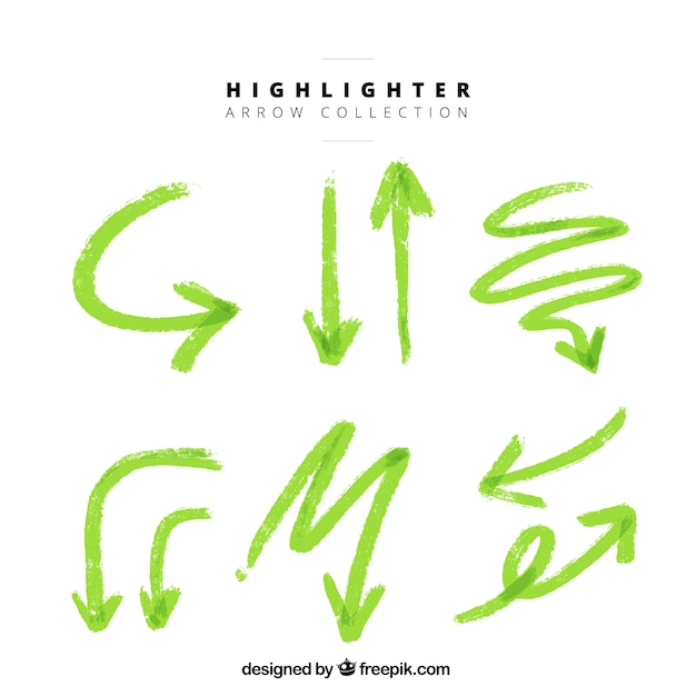 Set van highlighter groene pijlen Gratis Vector