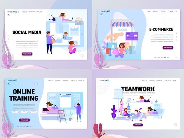 Set van homepage sjablonen Premium Vector
