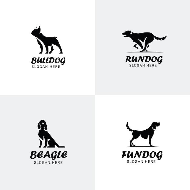 Set van hond logo's Premium Vector