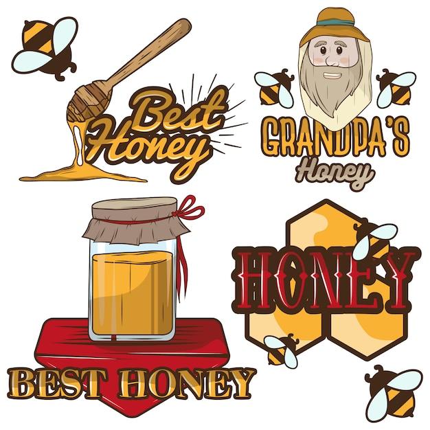 Set van honing labels en imkerij logo Premium Vector