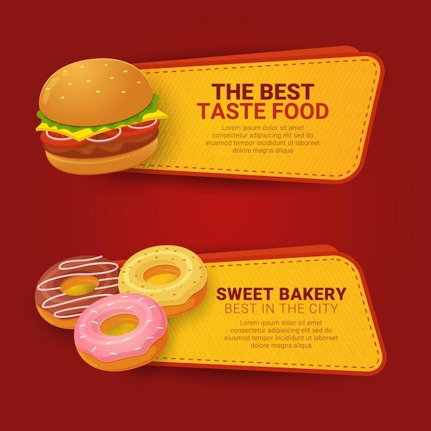 Set van horizontale banner sjabloon fastfood met informatie Premium Vector