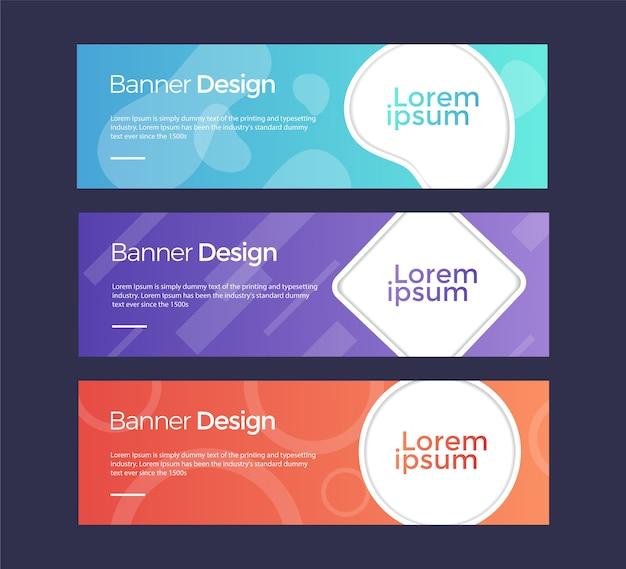 Set van horizontale banners universeel sjabloon voor een website met tekst, knoppen en transparante elementen. Premium Vector