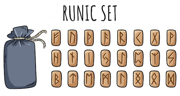 Set van houten runen en katoenen buideltas. collectie van hand getrokken doodles van gesneden runen symbolen op hout. illustratie van keltische glyphs Premium Vector