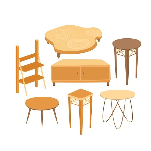 Set van houten tafels en kasten voor het interieur Gratis Vector