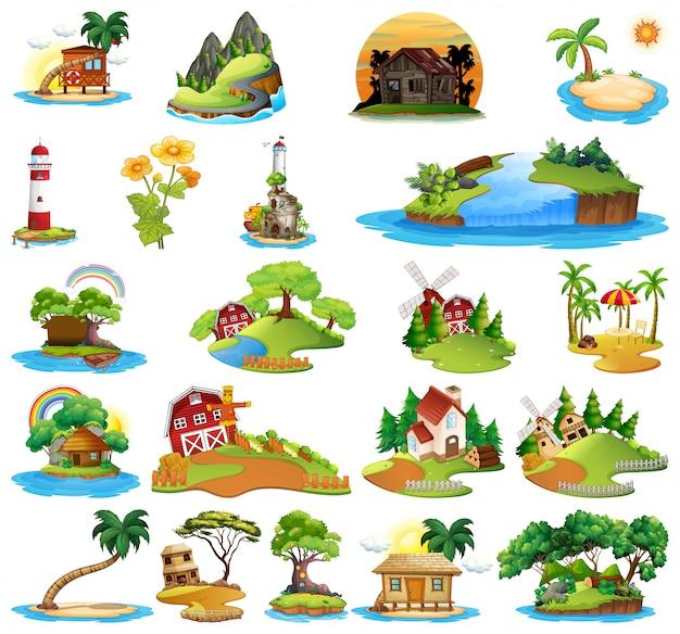 Set van huis in de natuur Gratis Vector