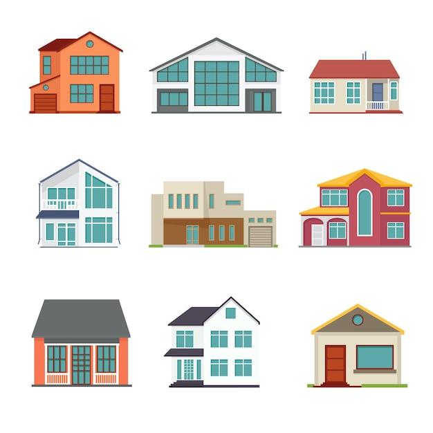 Set van huisje bouwen in vlakke stijl Gratis Vector
