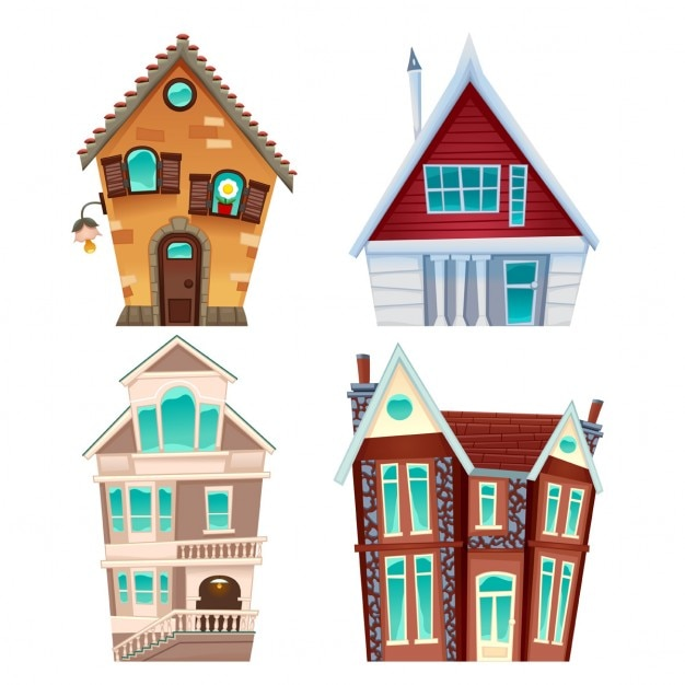 Building A New House Cartoon : Set van huizen vector cartoon geïsoleerde items voor games