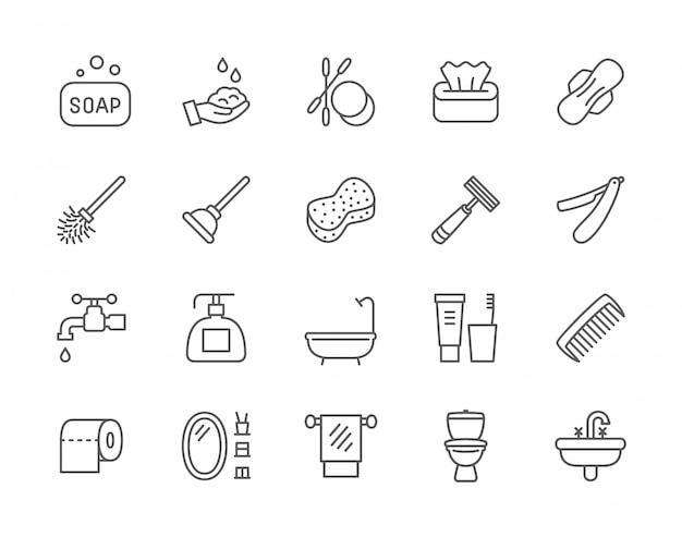 Set van hygiëne lijn iconen. Premium Vector
