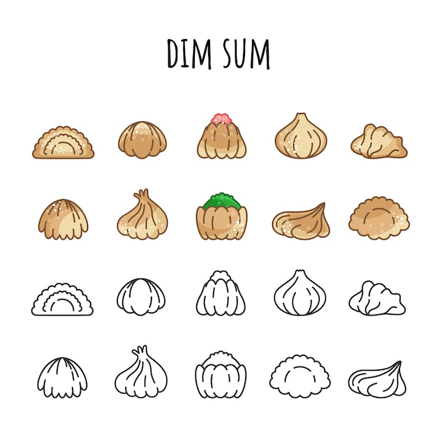 Set van iconen van dim sum. kleur en omtrek. warm eten Premium Vector