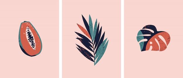 Set van illustraties met tropische vruchten en bladeren. Premium Vector
