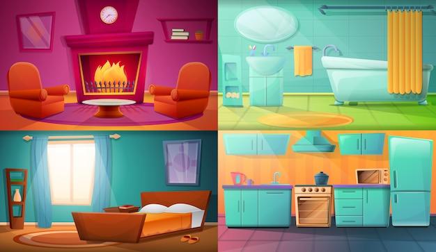 Set van illustraties met verschillende kamers van het appartement Premium Vector