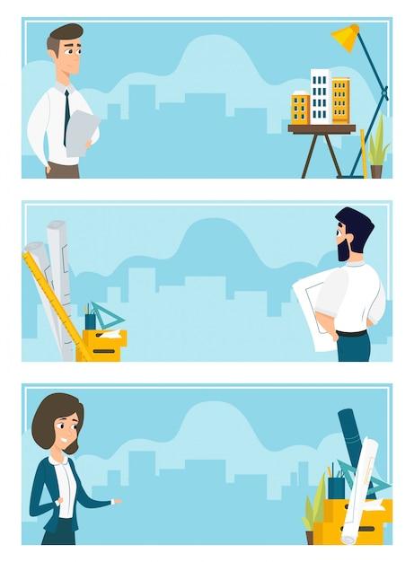Set van illustraties van architecten op het werk Gratis Vector
