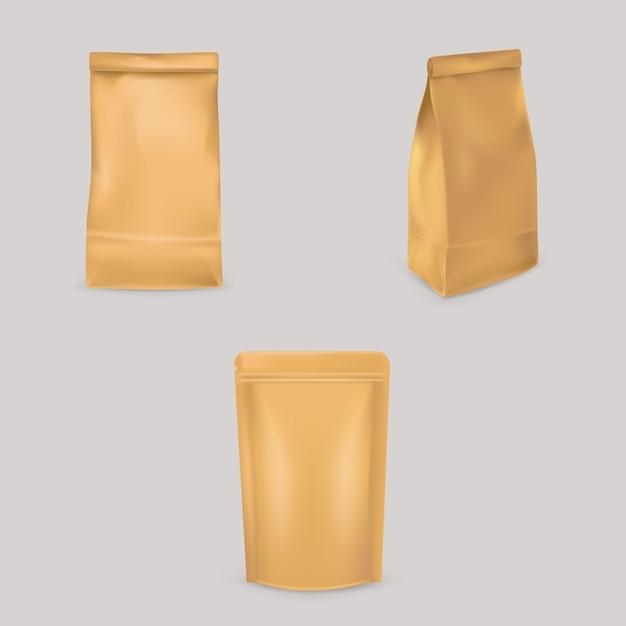 Set van illustraties van bruine papieren zakken Gratis Vector