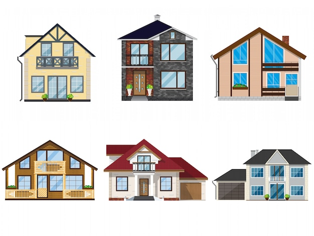 Set van illustraties vector huizen. Premium Vector