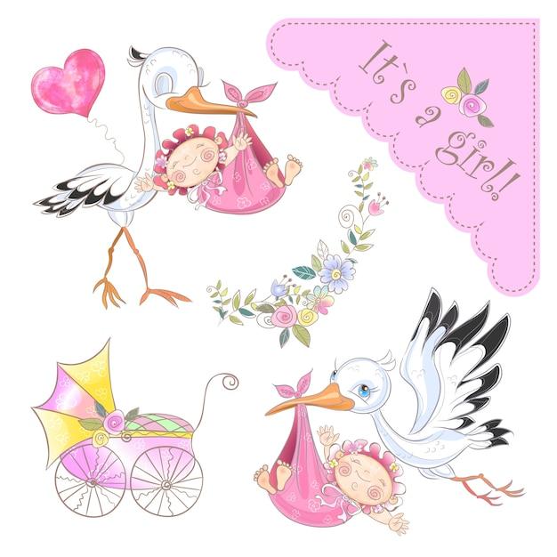 Set van illustraties voor de geboorte van een meisje. ooievaar met baby. babyshower. Premium Vector