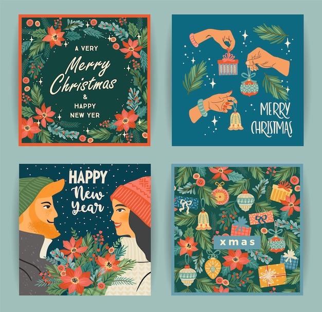 Set van illustraties voor kerstmis en gelukkig nieuwjaar met tekens en kerstsymbolen Premium Vector