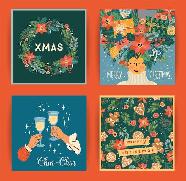Set van illustraties voor kerstmis en gelukkig nieuwjaar voor kaart, poster en ander gebruik Premium Vector