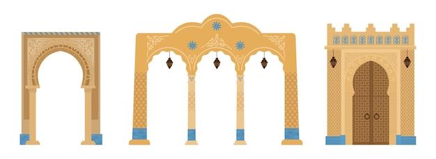 Set van indiase bogen met mozaïeken, lantaarns. architectuurelementen uit het midden-oosten. Premium Vector