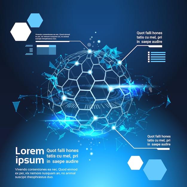 Set van infographic elementen wereld kaart globe tech abstracte achtergrond sjabloon banner Premium Vector
