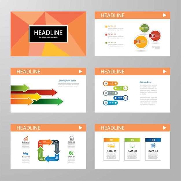 Set van infographic presentatiesjabloon plat ontwerp Premium Vector