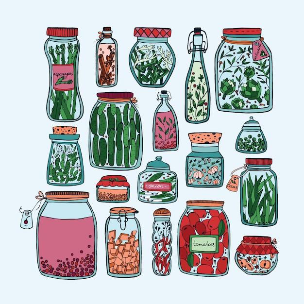 Set van ingemaakte potten met groenten, fruit, kruiden en bessen op de planken. in de herfst gemarineerd voedsel. kleurrijke illustratie. Premium Vector