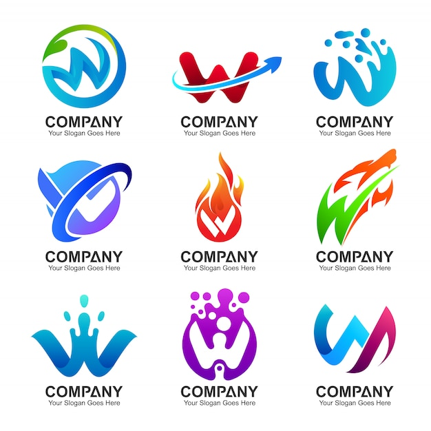 Set van initial letter w logo Premium Vector