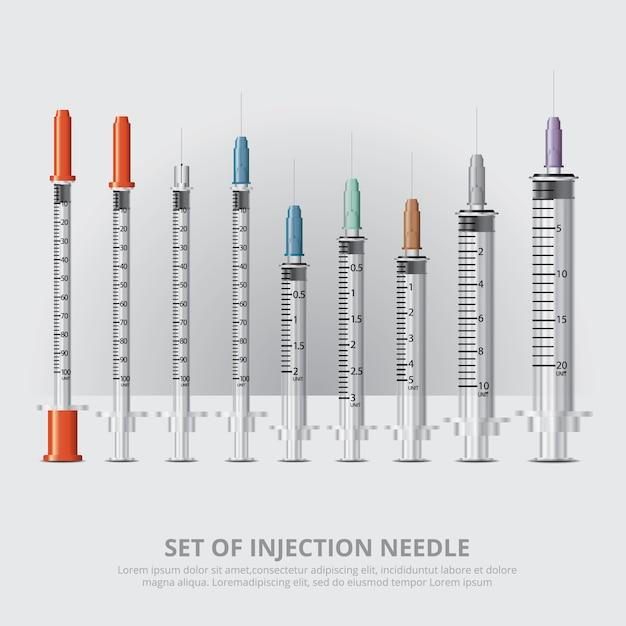 Set van injectie realistische realistische vectorillustratie Premium Vector
