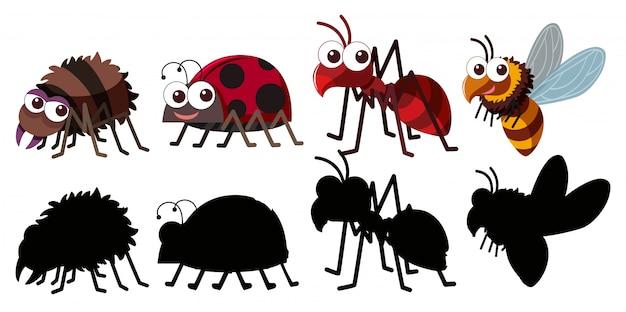 Set van insect karakter Premium Vector