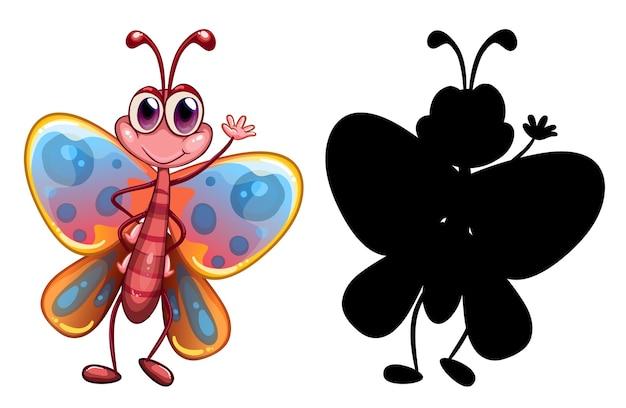 Set van insect stripfiguur en zijn silhouet op witte achtergrond Gratis Vector