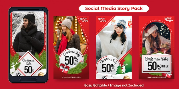 Set van instagram-verhaal voor promotie van kerstevenementen Premium Vector