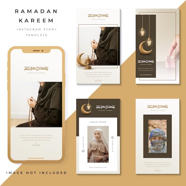Set van instagram verhalen ramadan kareem, instagram sjabloon foto Premium Vector