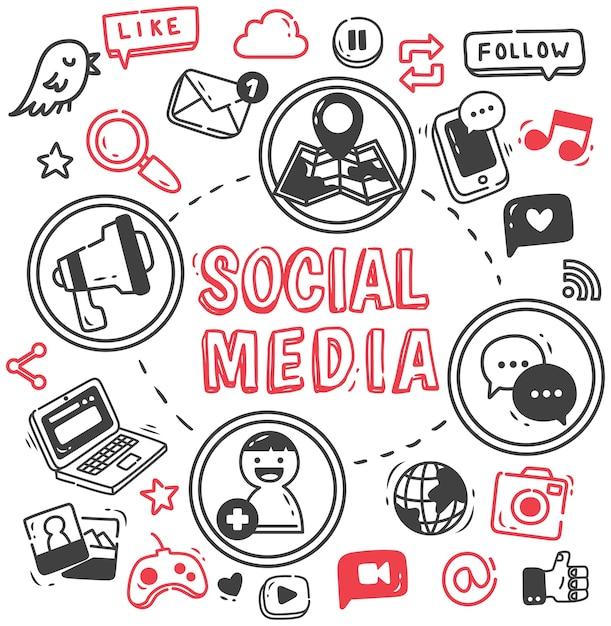 Set van internet en sociale media doodle Premium Vector