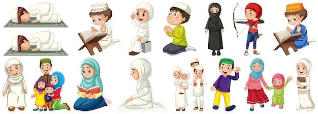 Set van islamitische kinderen karakter Gratis Vector