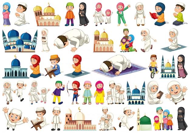 Set van islamitische mensen Gratis Vector