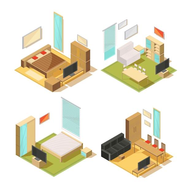 Set van isometrische composities van woonkamer interieur meubels met sofa's kledingkasten spiegels stoelen tafels en tv vector illustratie Gratis Vector