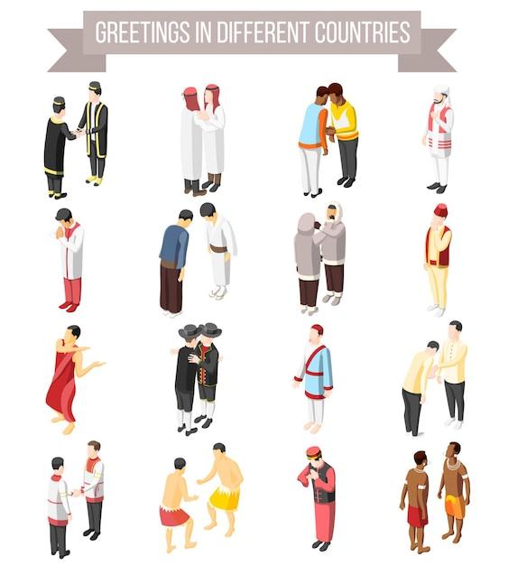 Set van isometrische decoratieve pictogrammen geïllustreerde manier en gebaar van mensen groeten in verschillende landen geïsoleerd Gratis Vector