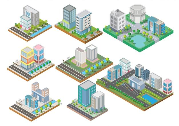 Set van isometrische gebouwen met tuin, rivier, weg en bomen Premium Vector