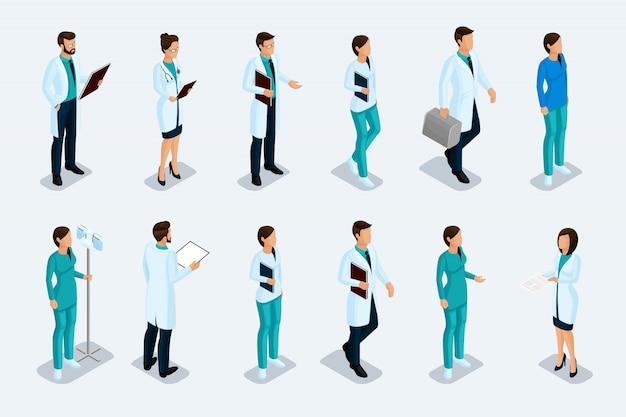 Set van isometrische medische professionals Premium Vector